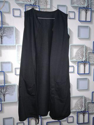 Black Long Outer (tanpa lengan)