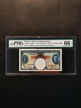 Malaya King George $1 1941 (PMG66 EPQ)