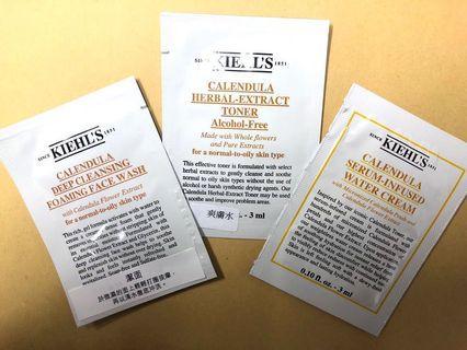 KIEHL'S 全新 金盞花系列 旅行裝 3件 天然無酒精(潔面 +爽膚水 +面霜 各1), 100%專櫃正貨