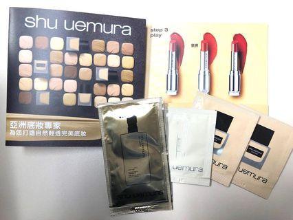 Shu uemura 自然輕透完美底妝旅行套裝(水潤防曬底霜 1ml x1+自然輕透持妝粉底液 1ml x2 +ultimate8琥珀潔顏油4ml x1), 100%專櫃正貨