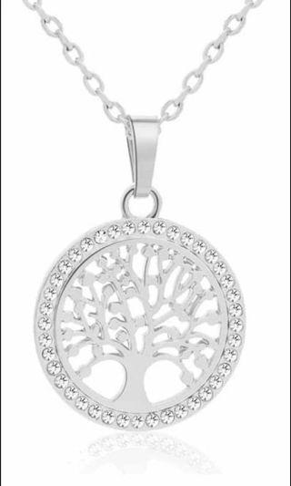 Exquisite 18K White Gold Filled Zirconia Tree Of Life Necklace