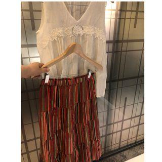 🚚 【二手9成新】日本 復古品牌 Raifu 古著 純棉 直條紋 紅色 膝下裙 長裙 彈性腰圍33 拉開46 臀65 長72 純棉