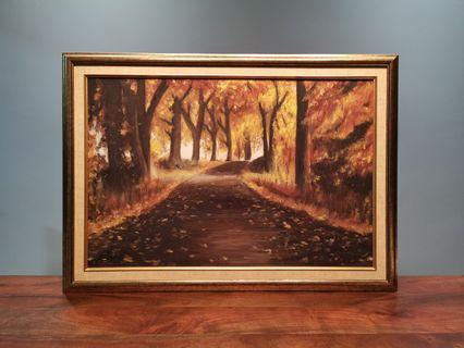 🚚 Oil Painting with Gold Frame - Autumn