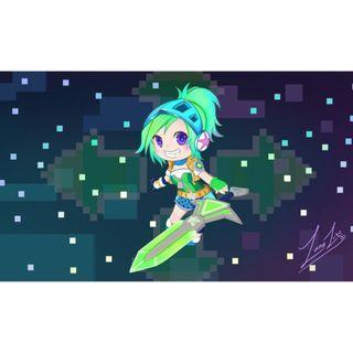 Arcade Riven Chibi Desktop Wallpaper [League of Legends] - Dark Version