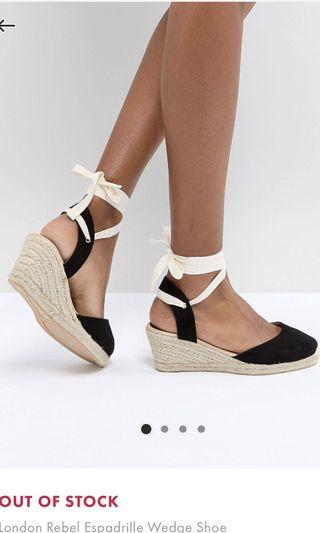 Bn ASOS London Rebel Espadrille Wedge Heel Shoe
