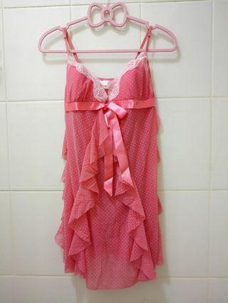 🍓超甜美風 點點粉紅連身式睡衣 家居服