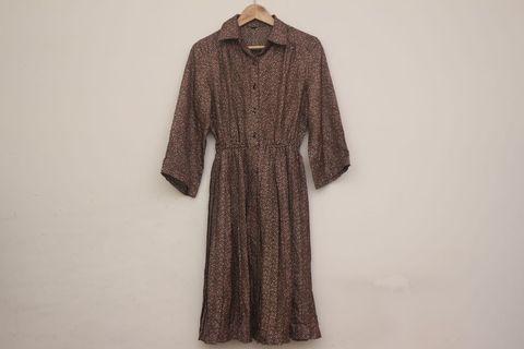 茶褐色和服印花洋裝|日本製