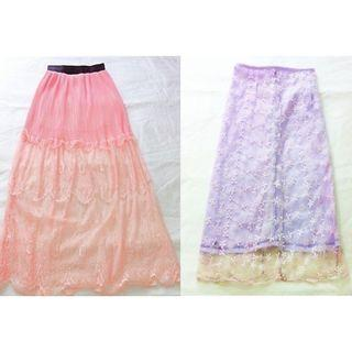 $8 SALE + FREEBIE = Peach Maxi Long Skirt FREE Lace Midi (do you see this marked sold? no. then OBVIOUSLY ITS AVAILABLE)