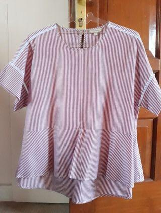 Et Cetera Pink Stripes Peplum Top