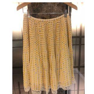 🚚 【二手9成新】專櫃品牌 ELLE 氣質 雪紡紗 及膝裙 跟新的一樣 38號 腰平量33 長56 百摺設計