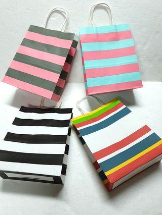 (M) Paper Carrier Bag, Twisted Paper Rope Handled ↪ Stripe 🛍 💱 $6.30 Each Packet - 10 Pieces