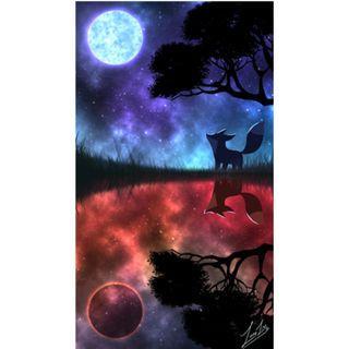 🚚 Fox & Luna (1440 x 2560) Phone Wallpaper