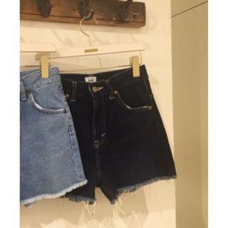 [未使用]日本正品 Snidel x Lee 合作款 褲尾抽鬚高腰短褲