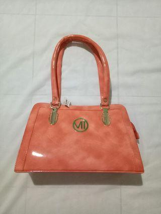 Tas handbag kulit kilat orange  chennai tamil India