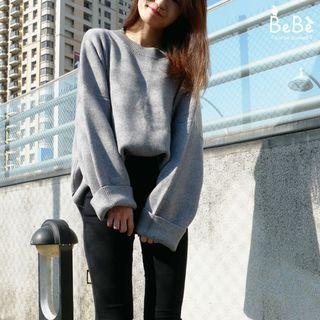 極推❤超柔軟厚實寬鬆落肩灰色針織毛衣