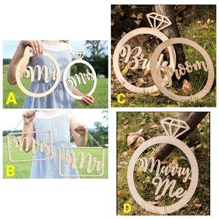 Wedding Proposal Wooden Sign Props