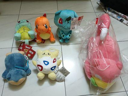 Pokemon Soft Toys *crazy sales*Charmander, Bulbasaur and Squirtle, snorlax, slowpoke, togepi,mewtwo
