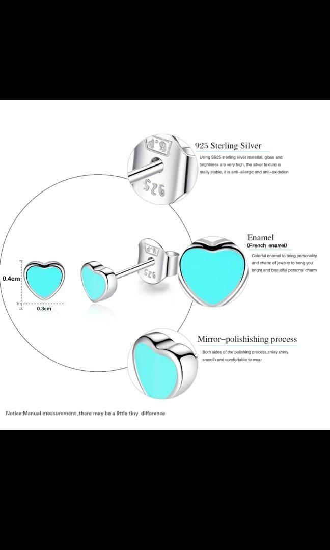 925 Sterling Silver Cute Small Pink and Blue Enamel Heart Stud Earrings For Women Girls Children