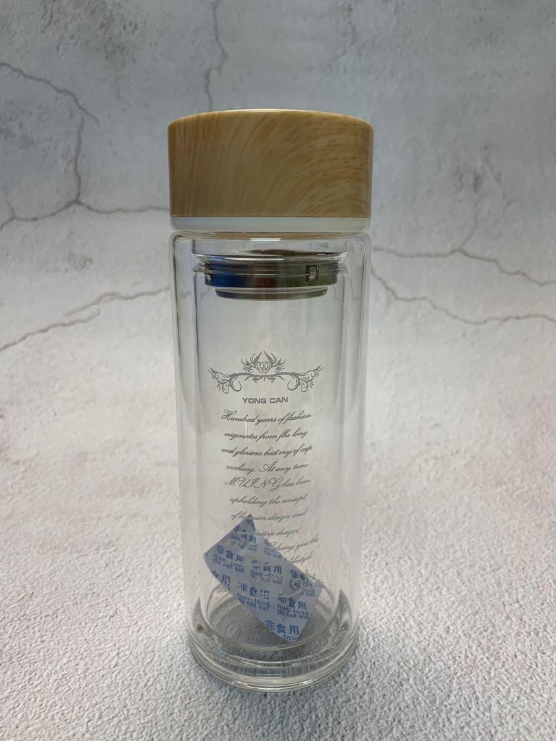 簡約木紋透明玻璃水樽連茶隔
