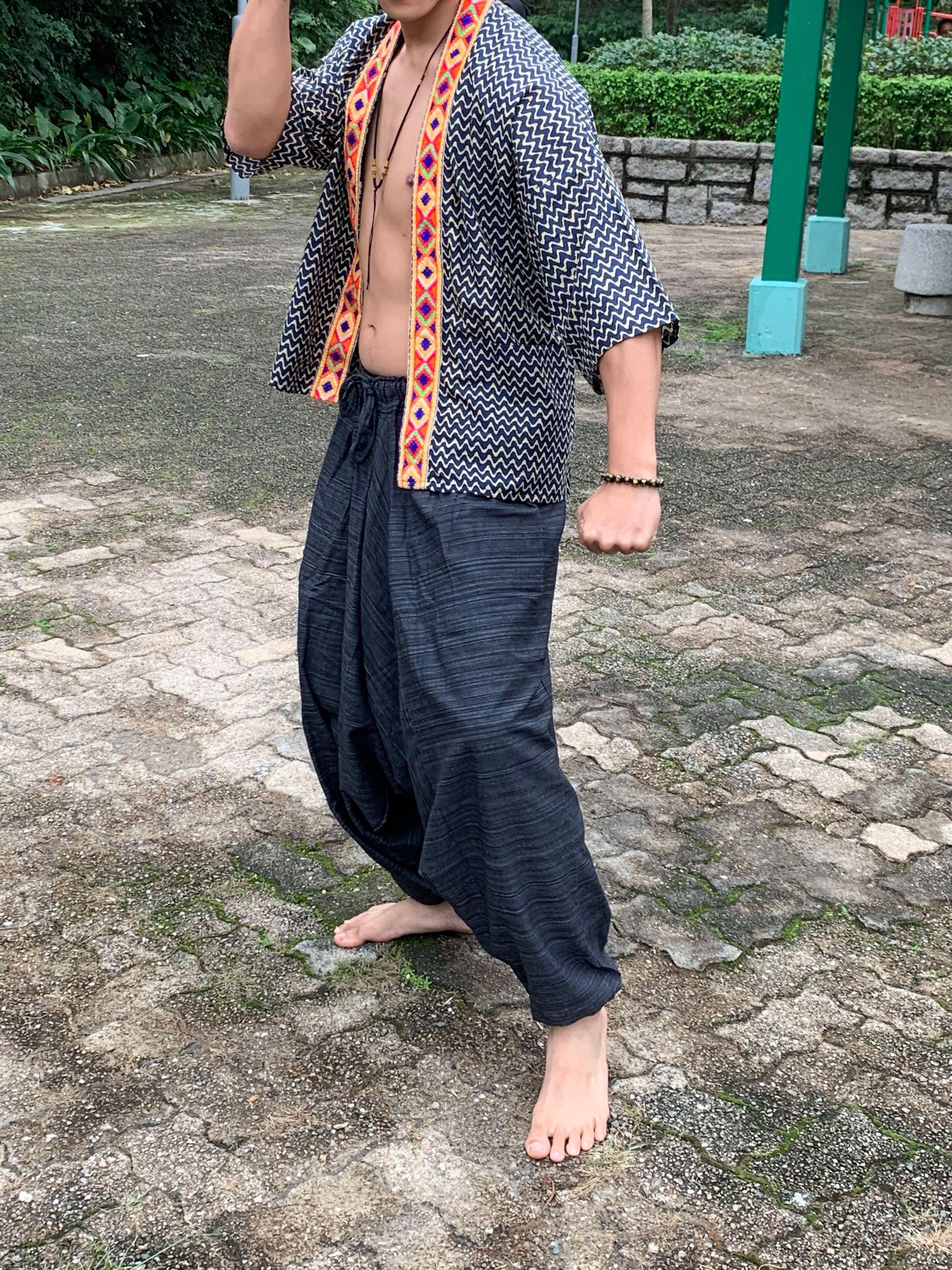 日本 民族風 戲服 男 麻質 寬褲 全套