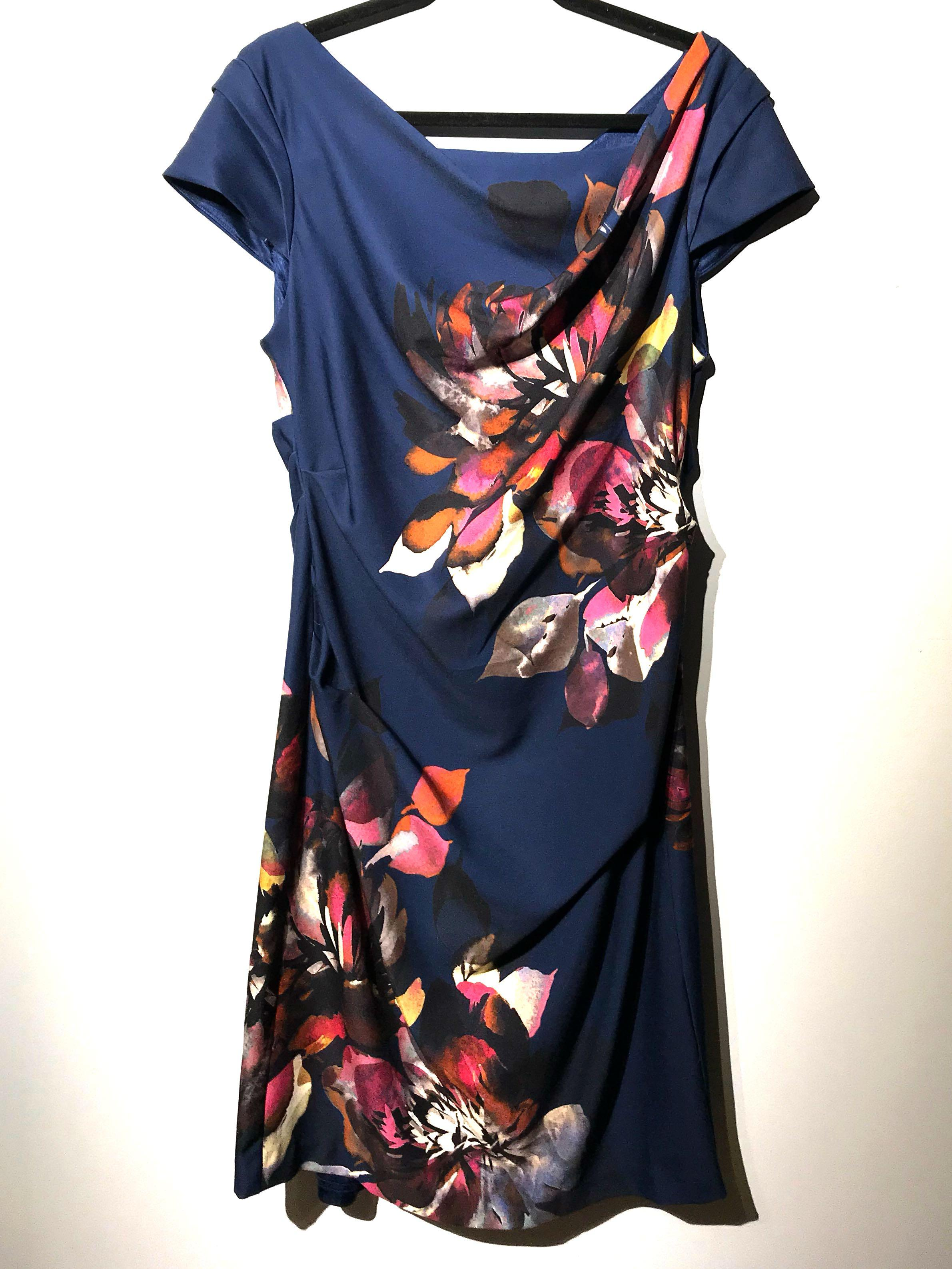 Adrianna Papell Floral Magnolia Cowlneck Dress Sz 8 Medium