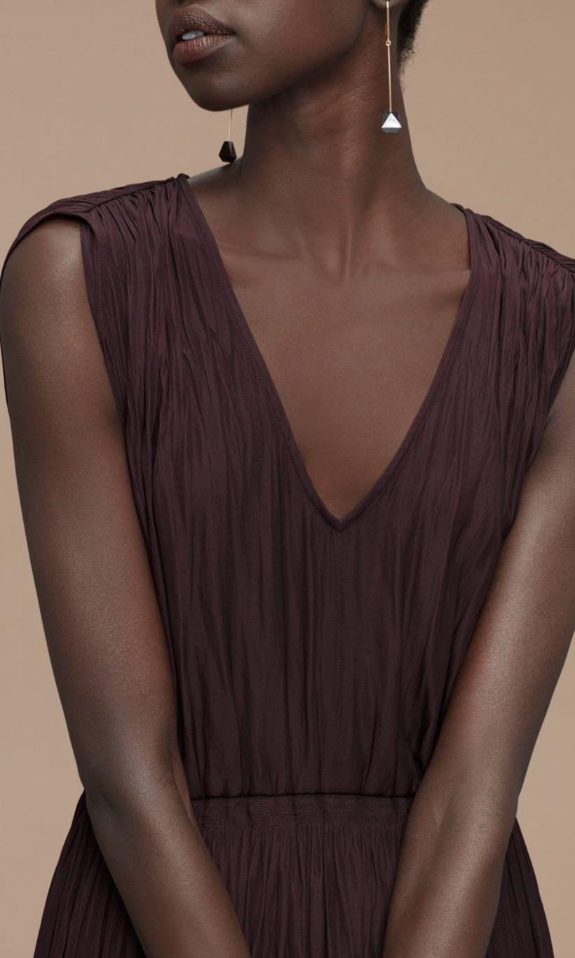 Aritzia WILFRED Almeida Maroon Dress Sz Medium