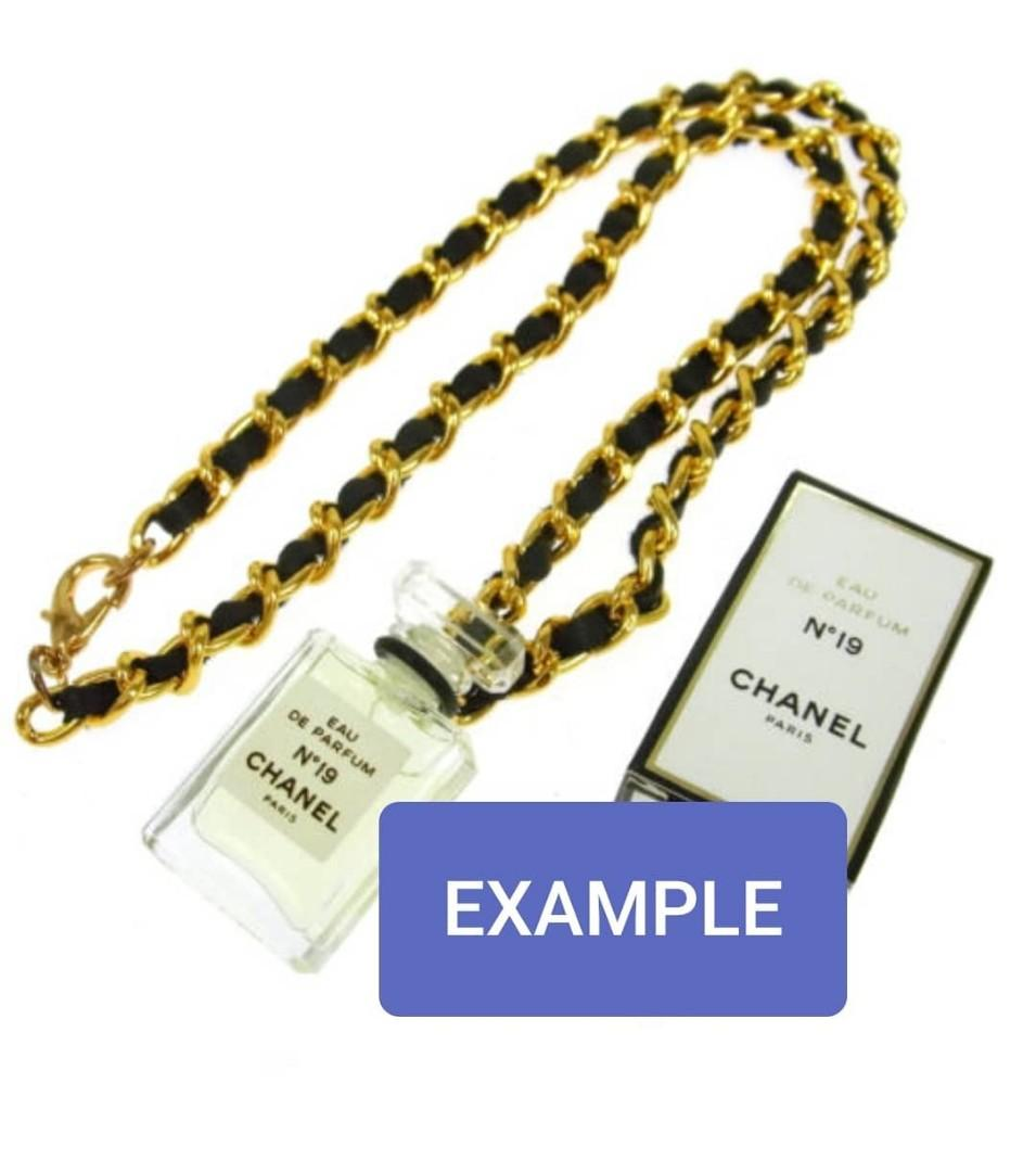 AUTHENTIC CHANEL N°5 NECKLACE - 24K GOLD PLATED CHAIN - RARE VINTAGE ITEM - OVERALL GOOD - COMES WITH BOX - (MARKET PRICE AT AROUND RM 3000+) - RM 390 ONLY