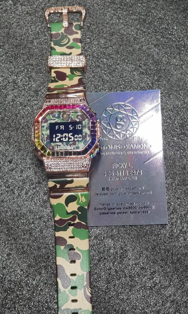 Ba customise rainbow rosegold dw5600 gshock/check out Instagram for more #gcustomisediamond#do PM more for pricing