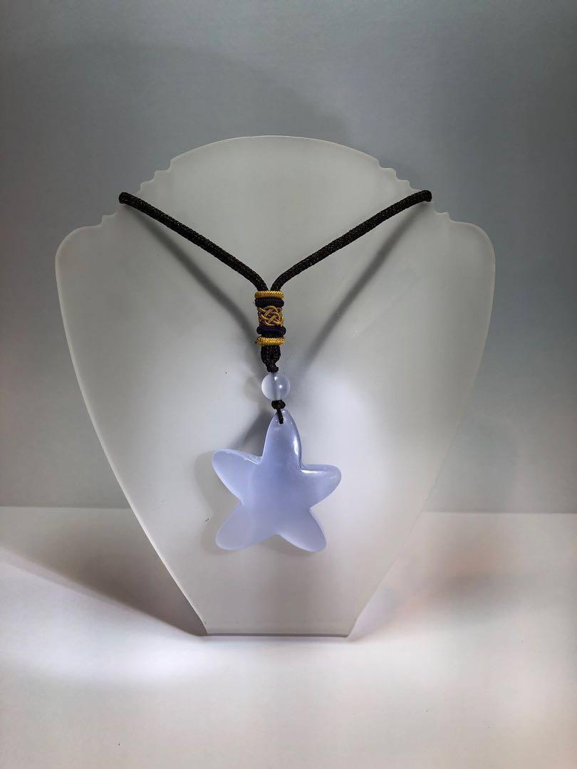 Chalcedony Star Pendant w rope (Turkey - 60.6ct)