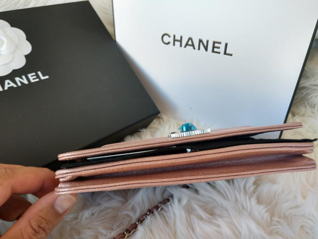 Chanel 19P Rose Gold Mademoiselle Wallet On Chain in Caviar Leather with ShW
