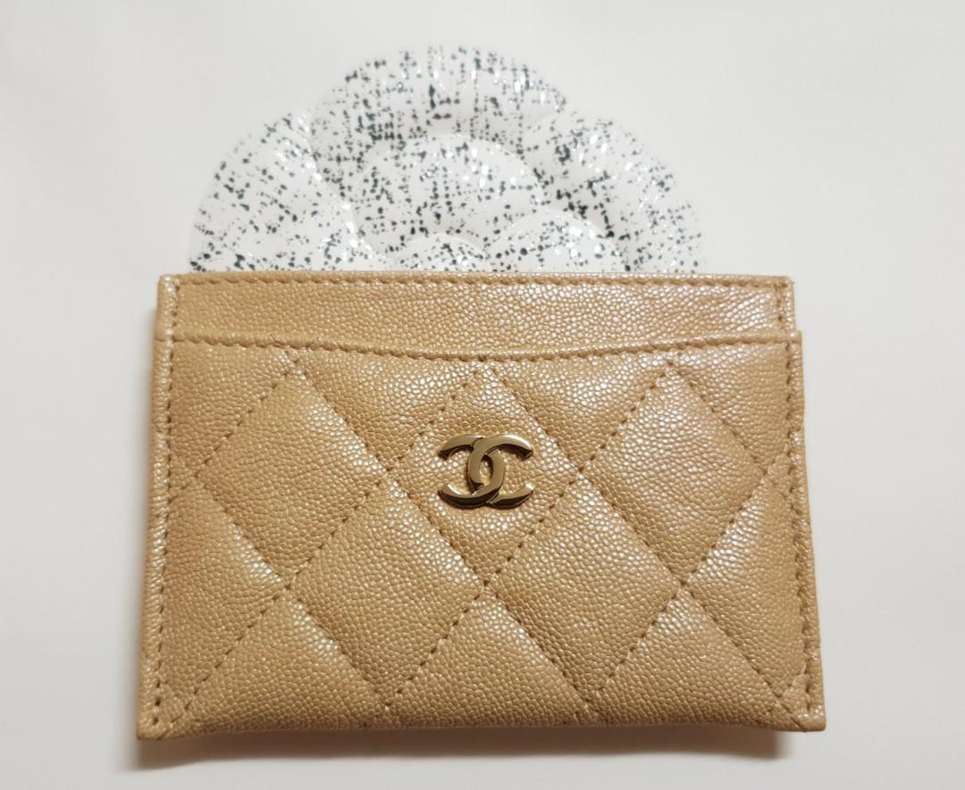Chanel 19S Beige Iridescent Classic Flat Card Holder