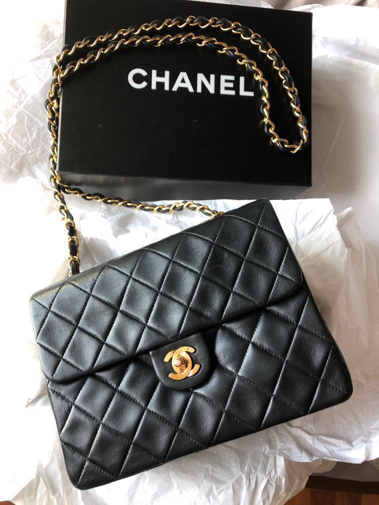 d3bbd40c706f01 Chanel handbag -lambskin quilted mini square flap vintage., Luxury, Bags &  Wallets, Handbags on Carousell