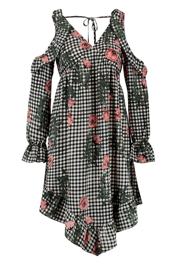 🌹 Checked Floral Hanky Hem Skater Dress | Boohoo | Size 8 🌹