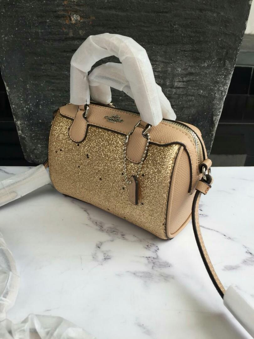 Coach Micro Bennet Satchel With Star Gliter Gold