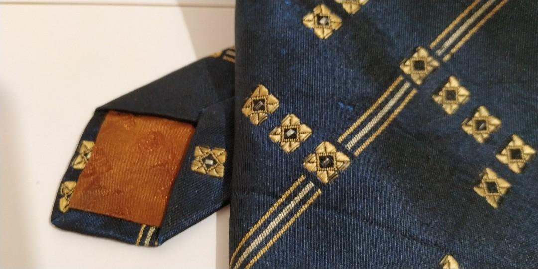 Dasi Biru Navy Luxury Motif Diamond Gold #BAPAU