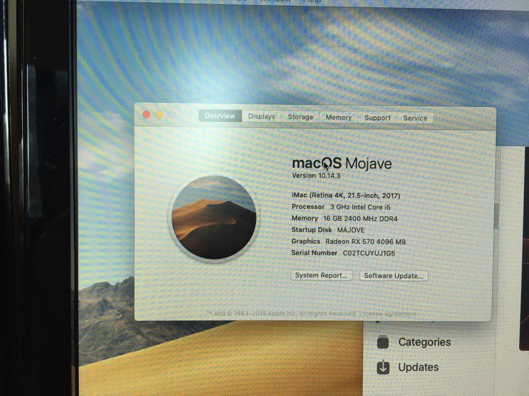 """Hackintosh i5 7400/16GB DDR4/RX570 4GB/240GB SSD/2TB/Dual Diplay 21.5"""" Samsung X 2/ Mojave 10.14.3"""