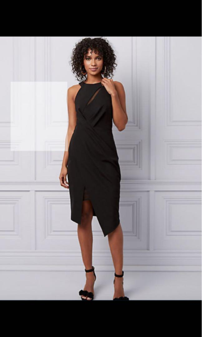 Halter Asymmetric Cocktail Dress- le Chatauex size 4 -black