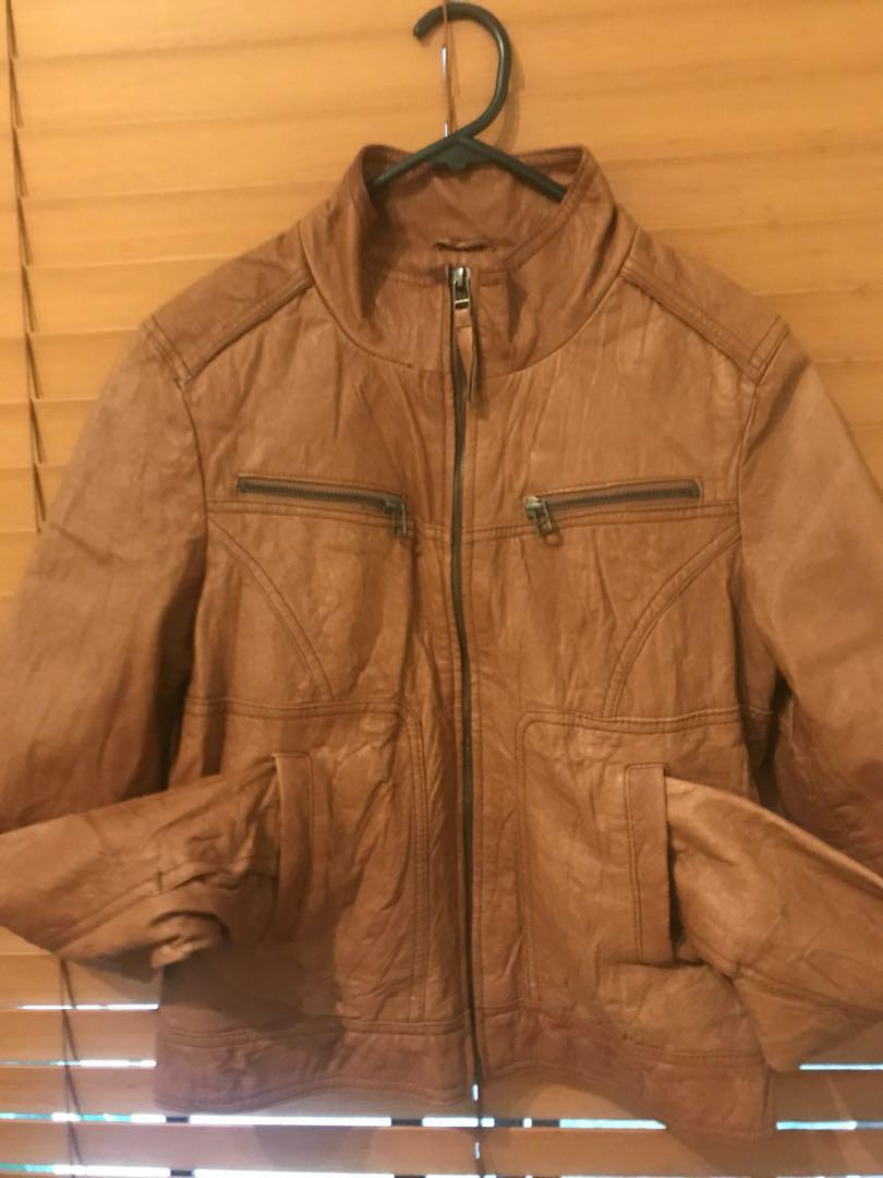 Just jeans Women's tan luxurious genuine leather jacket size 10