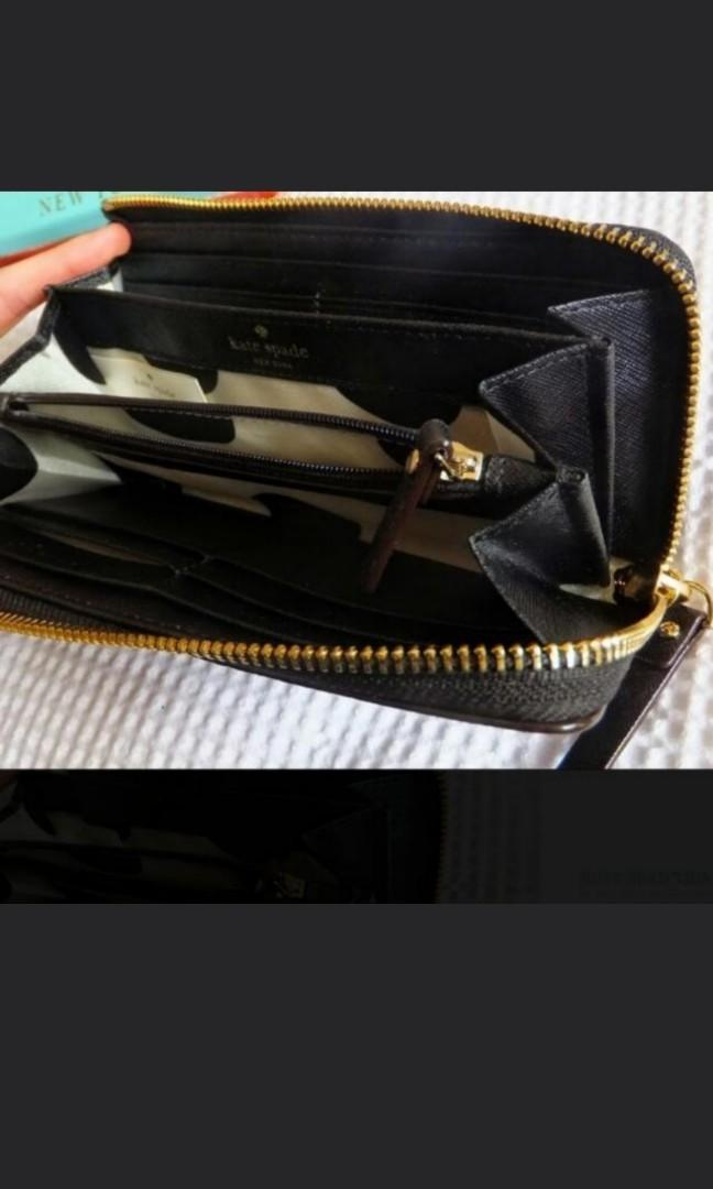 Kate Spade New York Cedar Street Nisha, As Good As Brand New Black Long Leather Wallet With Zip Credit Card Slots Coin Compartment!