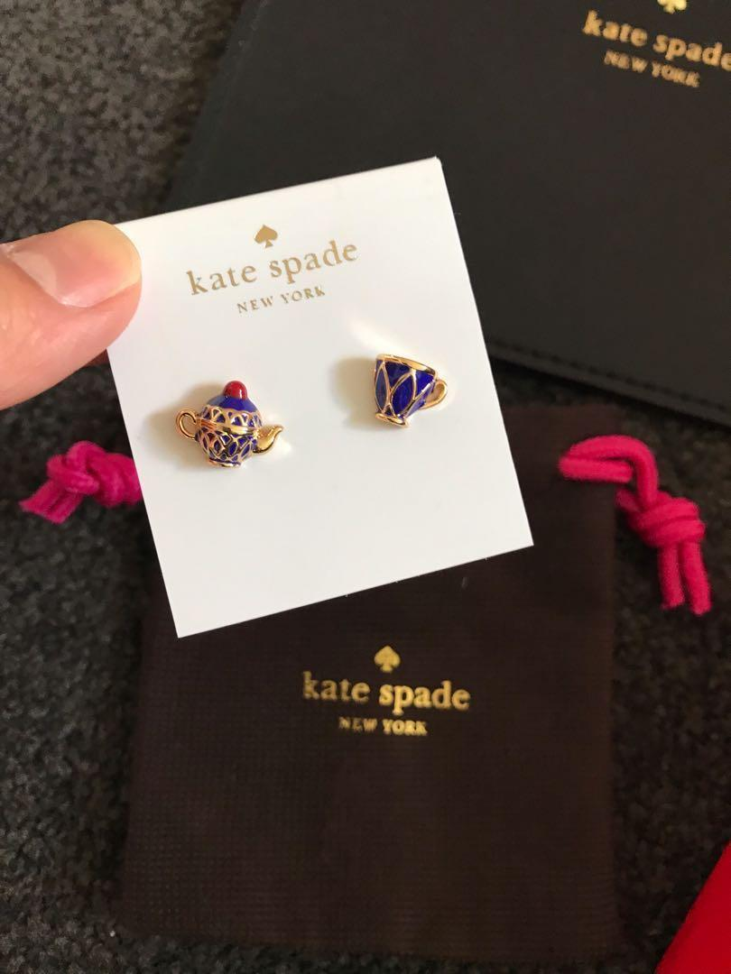 Kate spade tea cup and teapot quirky set of stud earrings