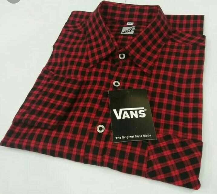 Kemeja Flannel lengan panjang kota hitam merah