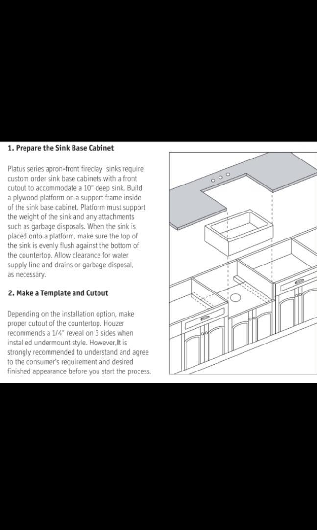 Kitchen fireclay Sink farmhouse style W61cmxD42cmxH19.5cm