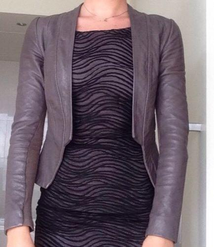 Kookai Chocolate Brown fitted leather jacket sz34 (Au 6)