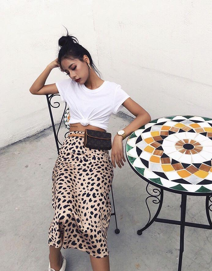 PREORDER Naomi leopard print midi skirt