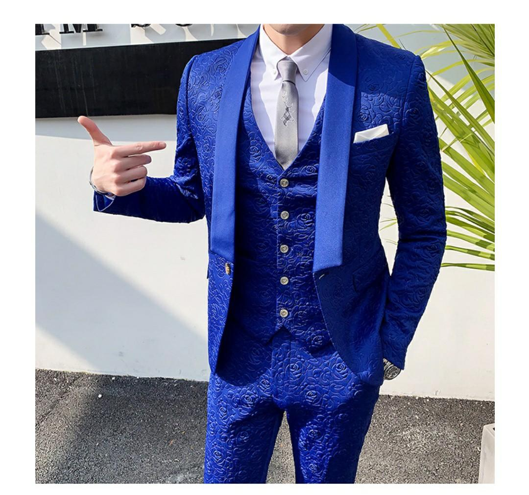 Men Suit 3pc Quality Blue Black Red White Suit Men S Fashion Clothes Others On Carousell