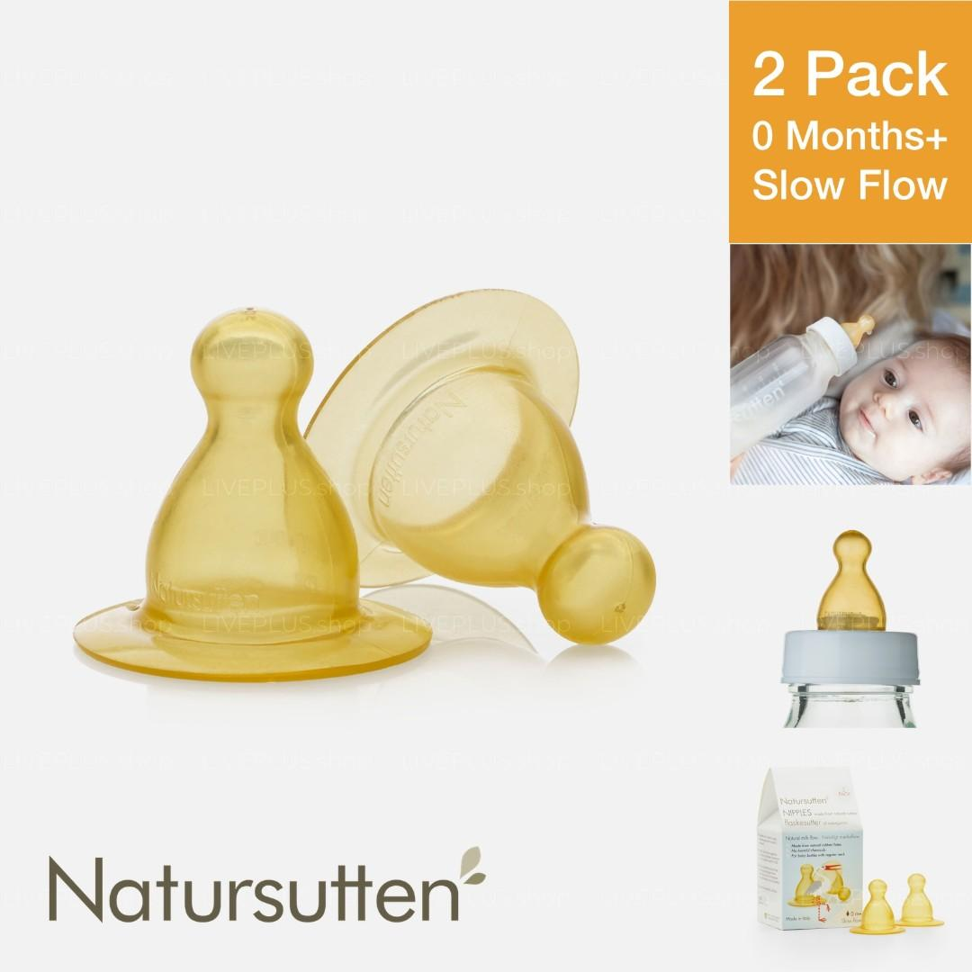 Natursutten Natural Rubber Nipples, 2 Pack, Slow Flow (0 Months Up) — Eco Friendly Latex Round Teat Soft Durable Feeding Nursing Infant Newborn New Born Drinking Milk Bayi Minum Menyusu Susu Puting Botol Kuning Getah 奶嘴