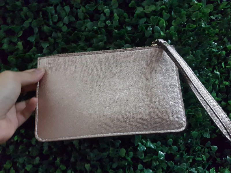 New Kate Spade metallic silver rose gold clutch wristlet wallet