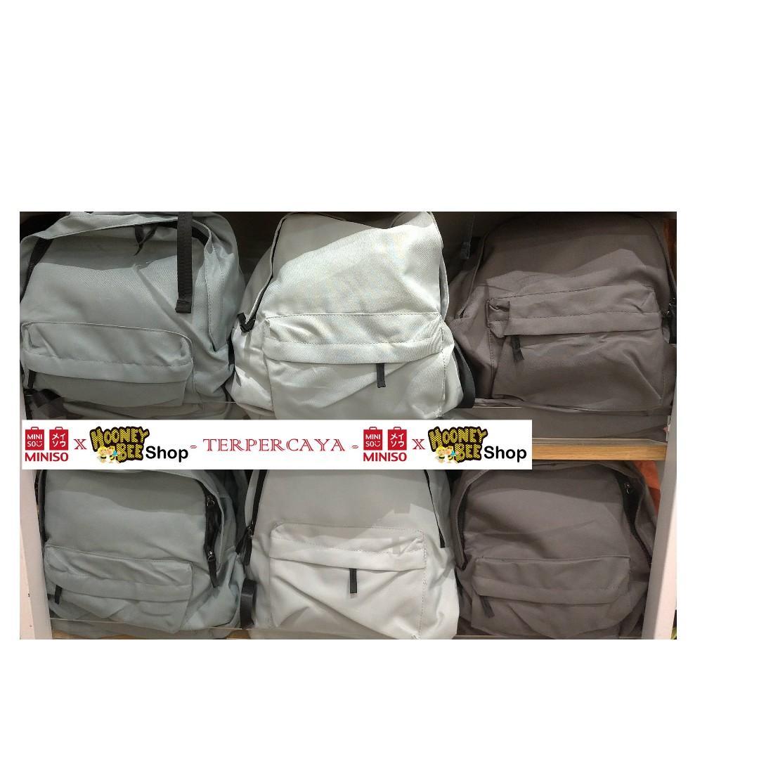 Original Miniso - Tas Ransel Miniso Simple Canvas Backpack Ransel Polos Backpack