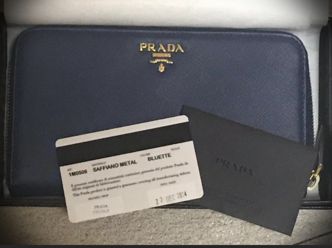 9fa6bde0de1c Prada Saffiano Metal Long Zip Around Wallet (Bluette), Luxury, Bags ...