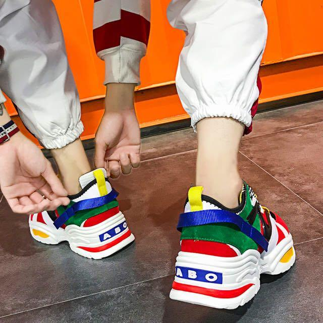 Stylish Unisex Casual Shoes Lovers Leather Dad Platform Chunky Sneakers Harajuku Flat Thick Sole Tenis Wedge White Basket Walking